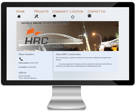 HRC Construction website - Before