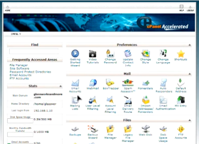 cPanel - screenshot of home page